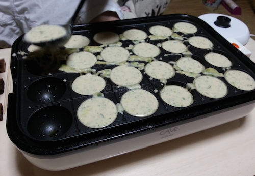 Easy Takoyaki Recipe: Pour in the batter