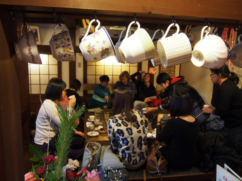 Tea cups collection at Ochuudo Cafe (落人)