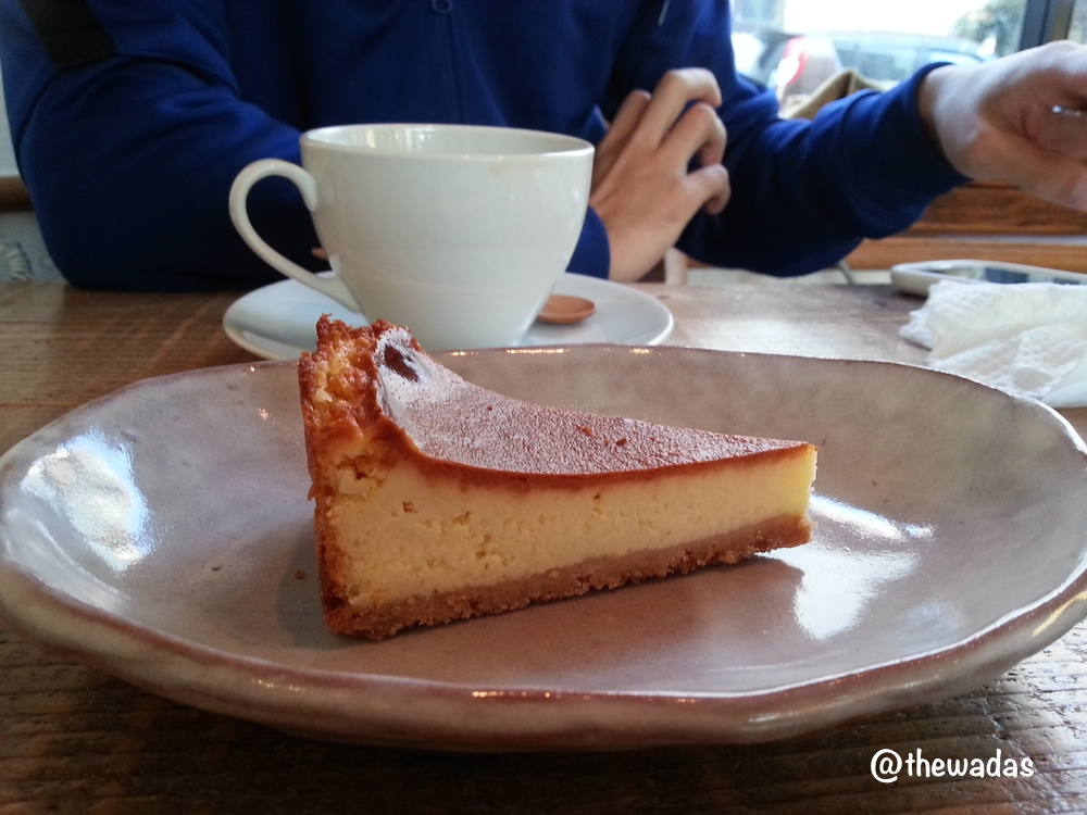 Tsuji Coffee: Cafe in Kasaoka City, baked cheesecake closeup