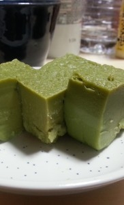 Japanese Sweets: Matcha flavor uiro cut in pieces
