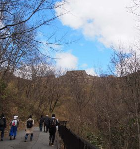 From bus stop, long walk to Takeda Castle