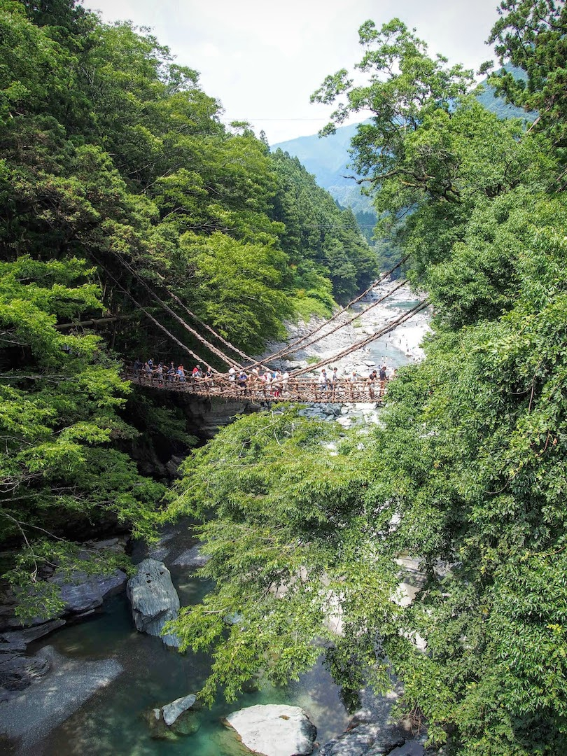Kazurabashi of Iya, Miyoshi City: suspension bridge view