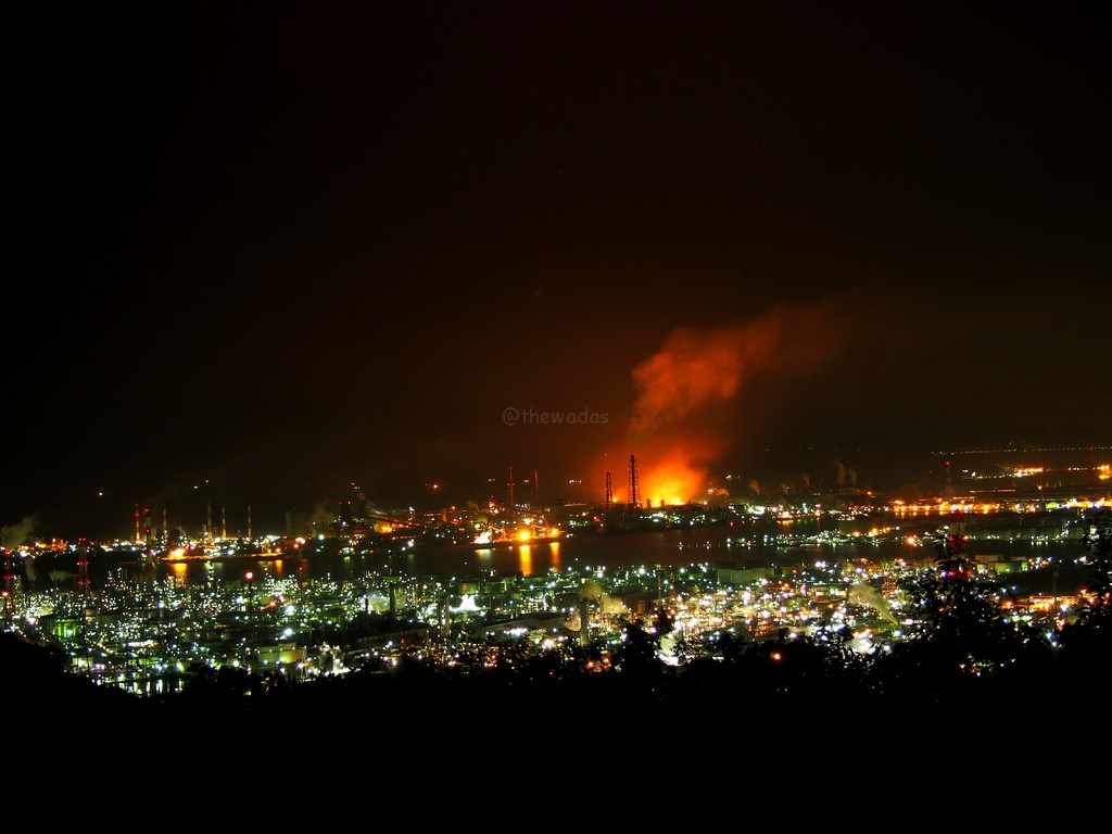 Okayama's Top Night View At Mizushima Observatory