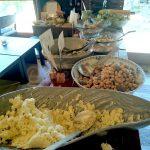 Buffet dishes (sake kasu-mayo, soy beans with konkyaku, etc.)