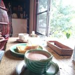 Capibara Coffee in Katsuyama: soy cafe latte in green mug