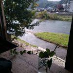 Capibara Coffee in Katsuyama: window view with ekibana