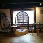 Capibara Coffee in Katsuyama: hammock and window seats