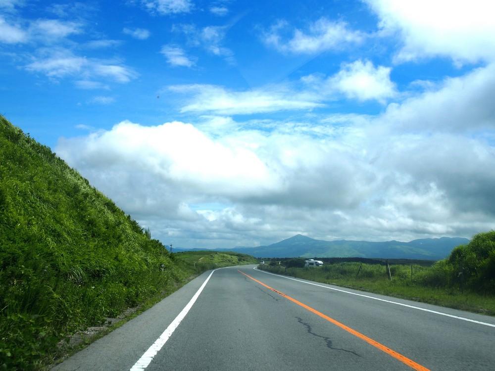 Greenish Mt. Aso in Kumamoto